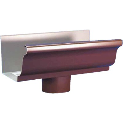 Amerimax 5 In. K Style Galvanized Brown Gutter Drop Outlet