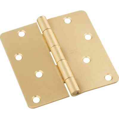 National 4 In. x 1/4 In. Radius Satin Brass Door Hinge