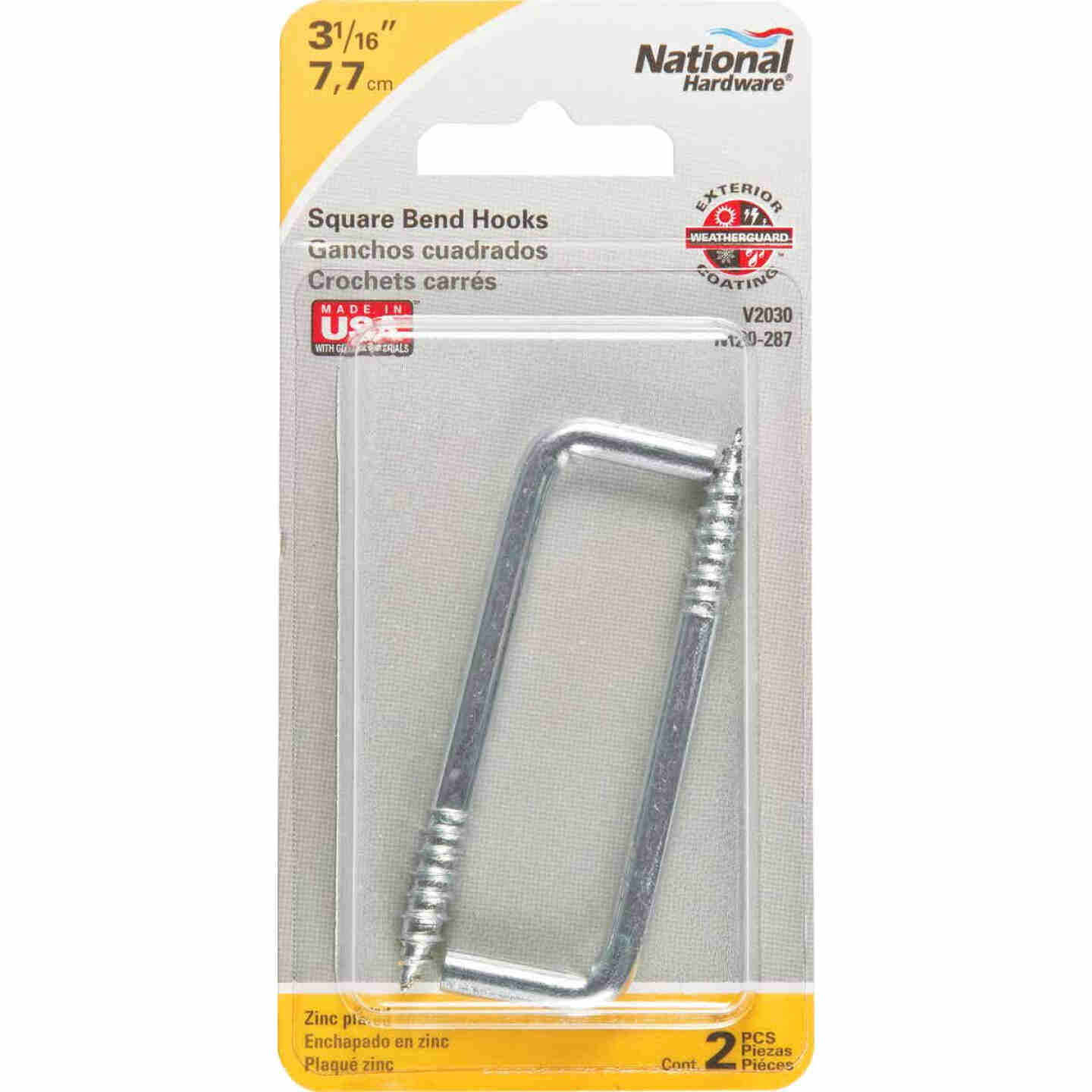 National 2030 Series #104 Square Bend Screw Hook Shoulder Hook (2 Count) Image 2