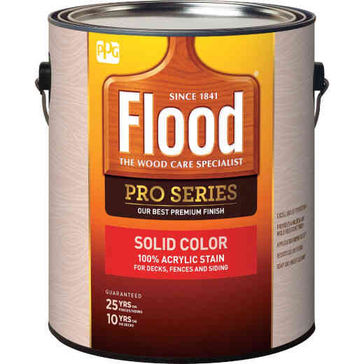 Flood Pro Series 100% Acrylic Opaque Deck Fence And Siding Exterior Stain, White/Pastel Base, 1 Gal.