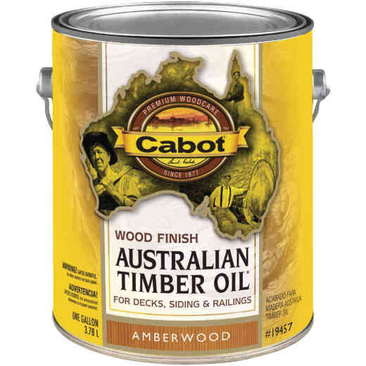 Cabot Australian Timber Oil Water Reducible Translucent Exterior Oil Finish, Amberwood, 1 Gal.