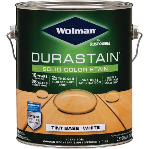Wolman DuraStain One Coat Solid Color Exterior Stain, White Base 1 Gal.